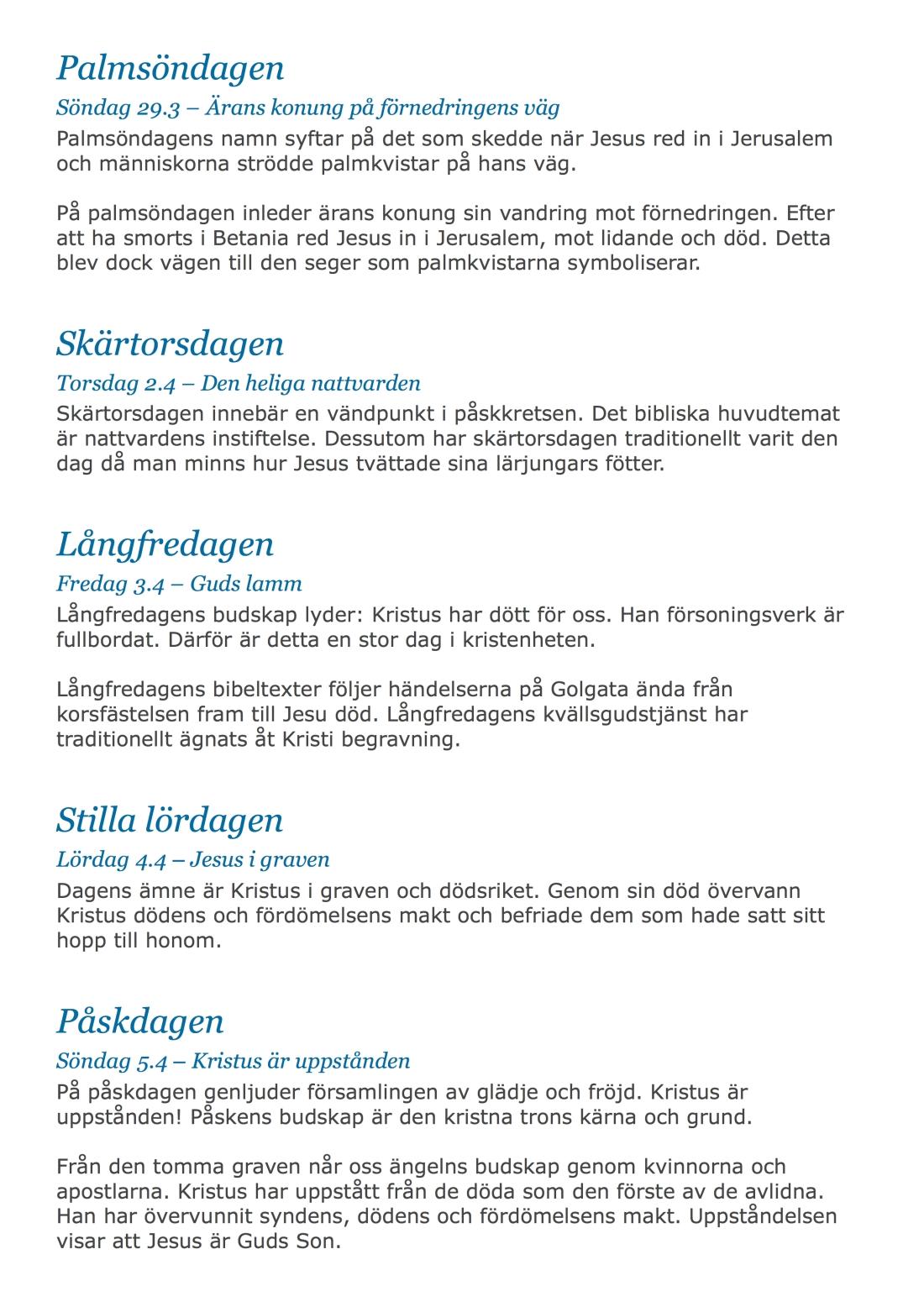 Veckoprogram - Påsken 2015 sid2